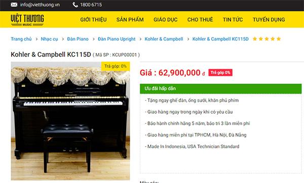 Đàn piano Kohler & Campbell có giá rẻ